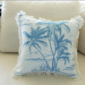 Blue Palm Island Cushion View 2