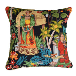 Frida's Garden Black Cushion - Braid Sqr