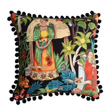 Load image into Gallery viewer, Frida's Garden Black Cushion - Black Pom Poms Sqr