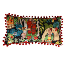 Load image into Gallery viewer, Frida's Garden Black Cushion - Red Pom Pom Long