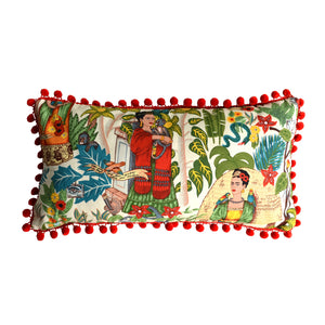 Frida's Garden Cream Cushion - Red Pom Poms Long