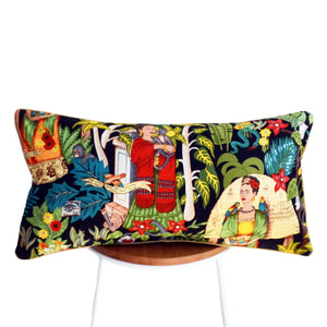 Frida's Garden Black Cushion - Braid Long