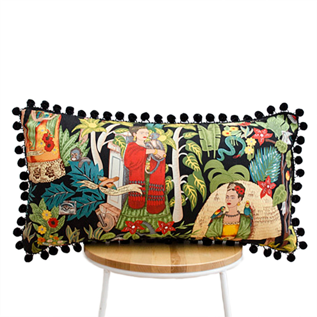 Frida's Garden Black Cushion - Black Pom Poms Long