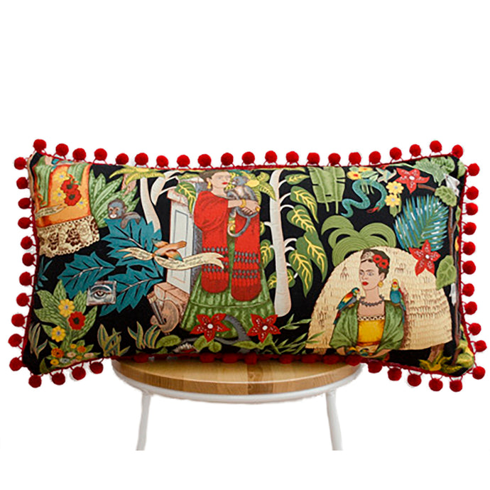 Frida's Garden Black Cushion - Red Pom Pom Long