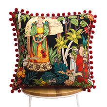 Load image into Gallery viewer, Frida's Garden Black Cushion - Red Pom Poms Sqr