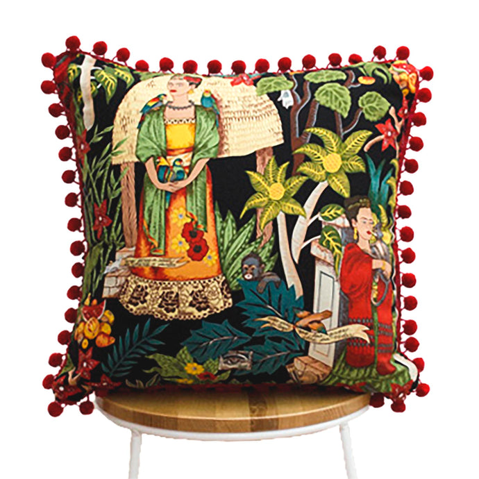 Frida's Garden Black Cushion - Red Pom Poms Sqr