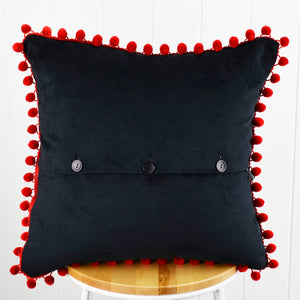 Frida's Garden Cream Cushion -  Red Pom Poms Sqr