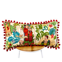 Load image into Gallery viewer, Frida's Garden Cream Cushion - Red Pom Poms Long