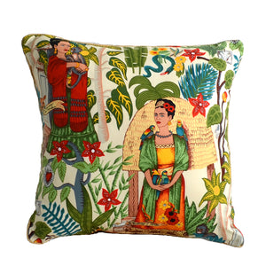 Frida's Garden Cream Cushion - Braid Sqr