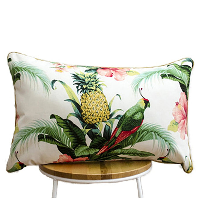 Hibiscus White Indoor-Outdoor Cushion II