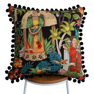 Frida's Garden Black Cushion - Black Pom Poms Sqr