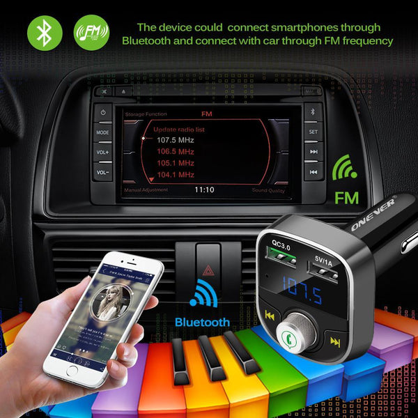 Onever Best Bluetooth FM Transmitter 2-USB Car Charger mp3 – LIVE