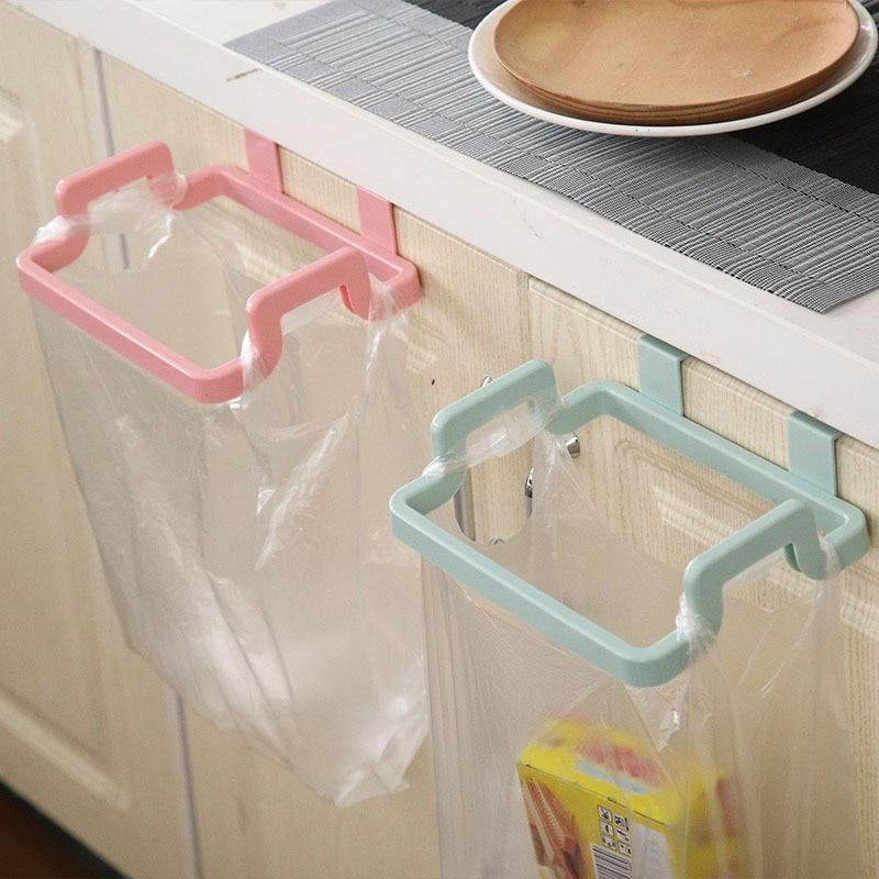 Platics Trash Bag Holder Storage Garbage Square Hanging On Cupboard Cabinet Easy Save Space Portable For Kitchen And Room