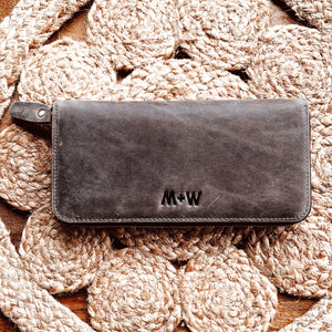 The Scripture Stamped Leather Wallet // Charcoal