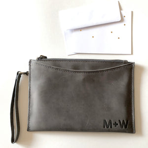 The Genuine Leather Wristlet // Charcoal