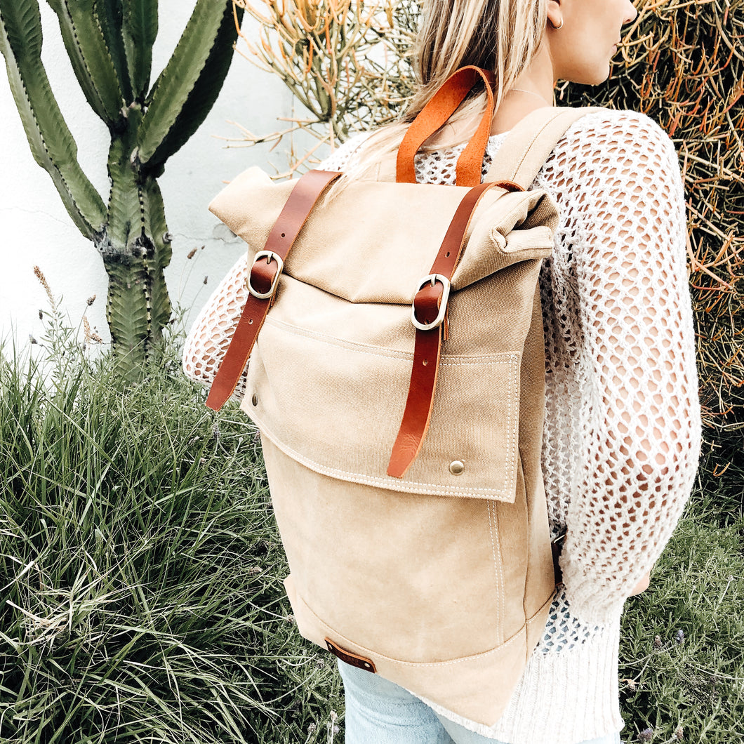 The Scripture-Lined Canvas and Leather Backpack // Sand