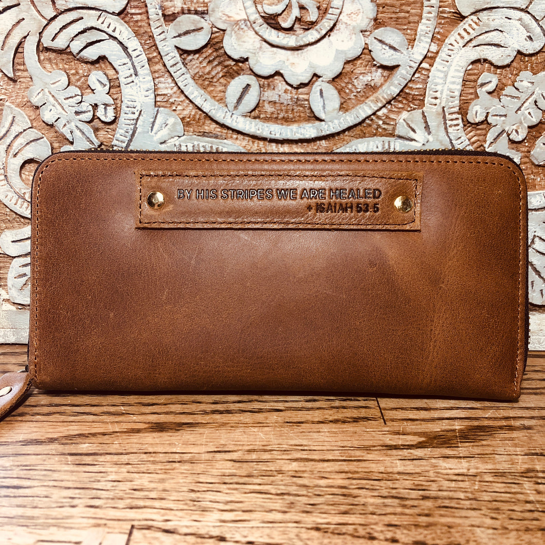 The Tan Scripture Stamped Leather Wallet // Isaiah 53:5