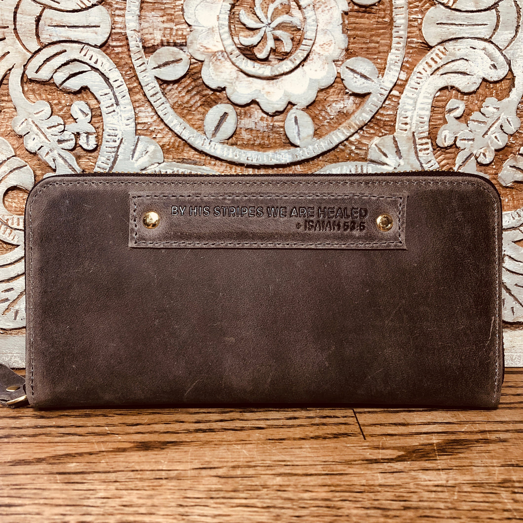 The Grey Scripture Stamped Leather Wallet // Isaiah 53:5