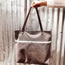 The Grey Scripture Stamped Waxed Canvas Tote // Isaiah 53:5