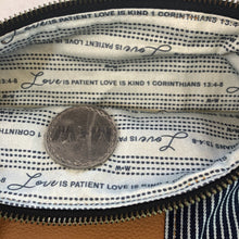 The Genuine Leather and Denim Fold Over Clutch // 1 Corinthians 13 4-8