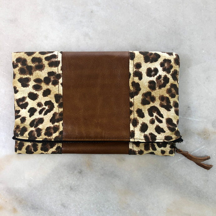 The Genuine Leather and Leopard Fold Over Clutch // Ephesians 2:10