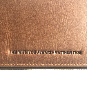 The Scripture Stamped Leather Wallet // Tan