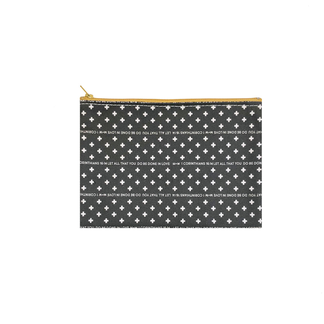The Printed Denim Clutch // Dark Grey