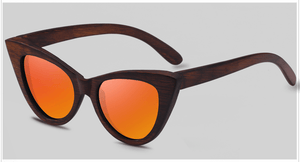 Cat Eye Dark Bamboo Sunglasses with orange color lens