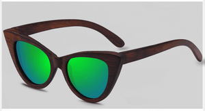 Cat Eye Dark Bamboo Sunglasses with green color lens