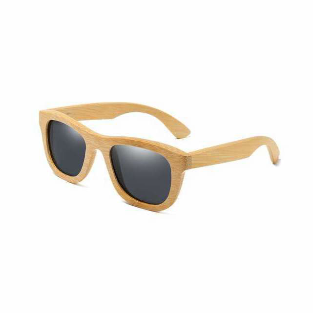 Retro Wayfarer Bamboo Sunglasses with grey color lens