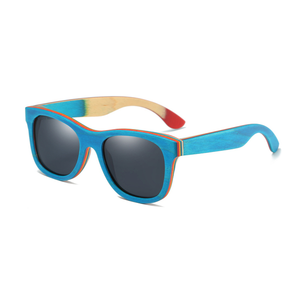 Striped Wayfarer Bamboo Sunglasses