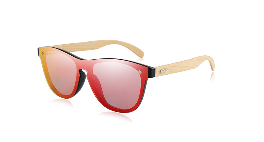 Rimless Sunglasses with red color lens