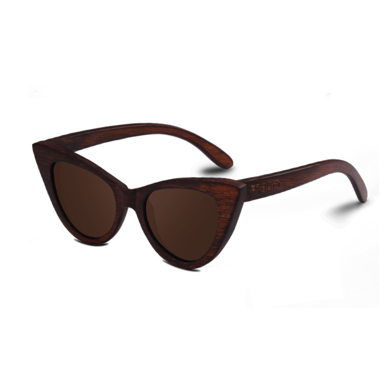 Cat Eye Dark Bamboo Sunglasses with brown color lens