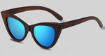 Cat Eye Dark Bamboo Sunglasses with blue color lens
