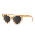Cat Eye Bamboo Sunglasses with grey color lens
