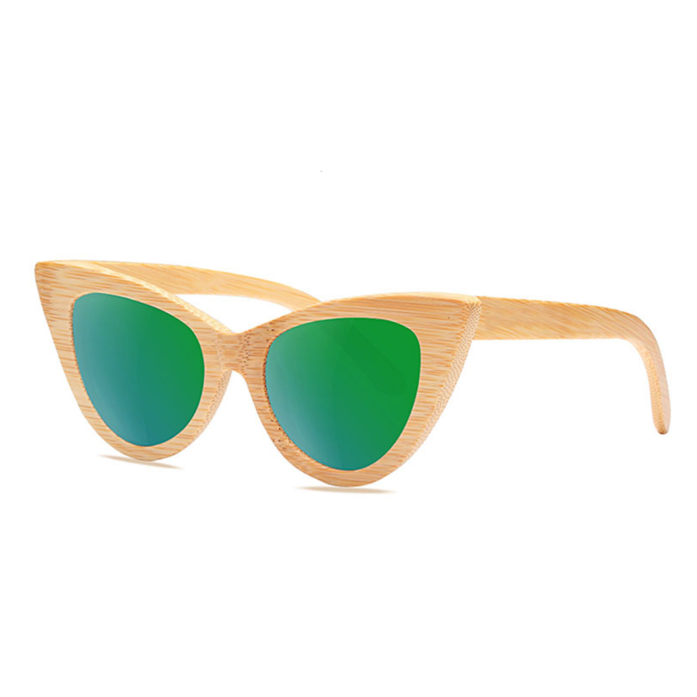 Cat Eye Bamboo Sunglasses with green color lens