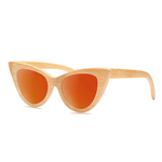 Cat Eye Bamboo Sunglasses with orange color lens