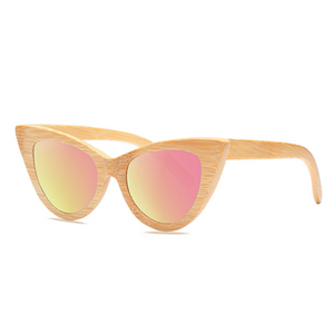 Cat Eye Bamboo Sunglasses with pink color lens