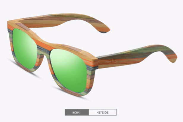 Multi-color Striped Rectangle Bamboo Sunglasses