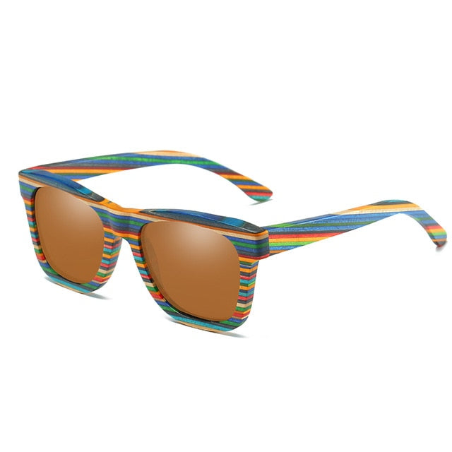 Multi-color Striped Wayfarer Bamboo Sunglasses