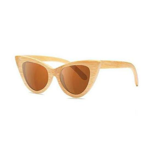 Cat Eye Bamboo Sunglasses with brown color lens