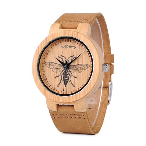 BOBO BIRD Special Designed Quartz Bamboo Watch with wasp