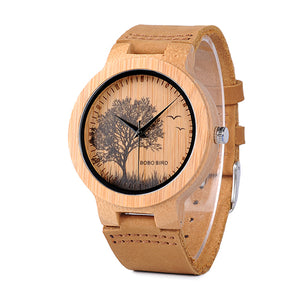 BOBO BIRD Special Designed Quartz Bamboo Watch with tree