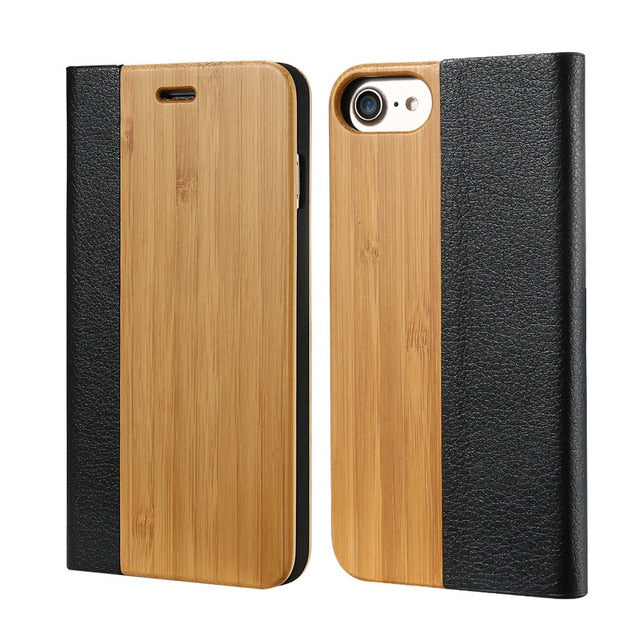 Bamboo with Leather Flip Phone Case
