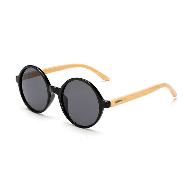 Round Framed Bamboo Sunglasses with grey color lens