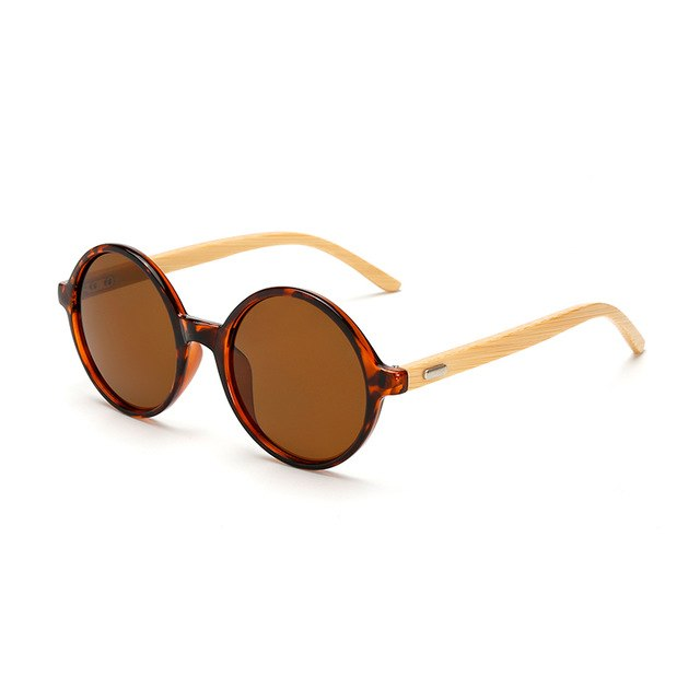 Round Framed Bamboo Sunglasses with brown color lens