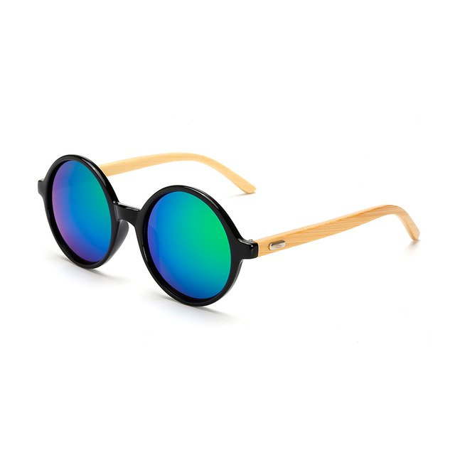 Round Framed Bamboo Sunglasses with green color lens