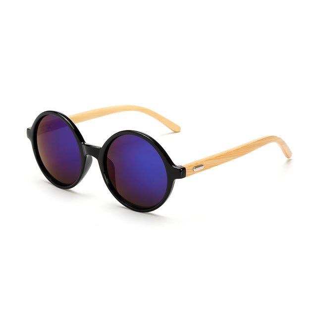 Round Framed Bamboo Sunglasses with blue color lens