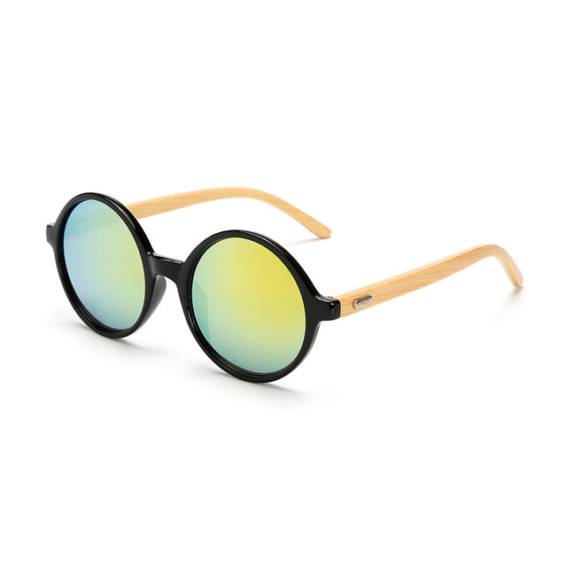 Round Framed Bamboo Sunglasses with gold color lens