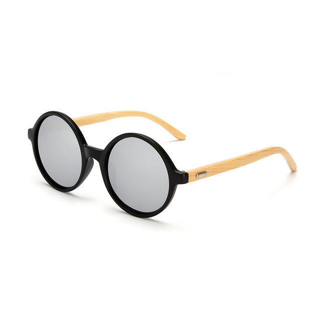 Round Framed Bamboo Sunglasses with silver color lens